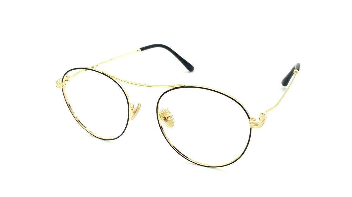 gafas graduadas doradas unidas por el puente superior